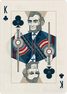 Playing Cards - King Of Clubs, Abraham Lincoln, Founders by the US Playing Card Company (USPCC) - playingcards, playingcardsart, playingcardsforsale, playingcardswiththefamily, playingcardswithfamily, playingcardsgame, playingcardscollection, playingcardstorage, playingcardset, playingcardsproject, cardscollector, playingcard, design, illustration, cards, cardist