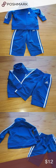 "Adidas Baby ""jogging"" set Matching Adidas jogger set. Blue with white stripes. Worn once size 3mo. adidas Matching Sets"