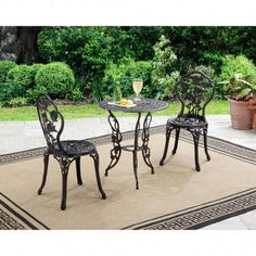 Outdoor Furniture Set Bistro Deck Patio Garden Balcony Yard Table Metal Chairs - All About Balcony Garden Furniture Sets, Outdoor Garden Furniture, Outdoor Rooms, Outdoor Chairs, Outdoor Living, Patio Chairs, Outdoor Cafe, Furniture Legs, Dining Furniture