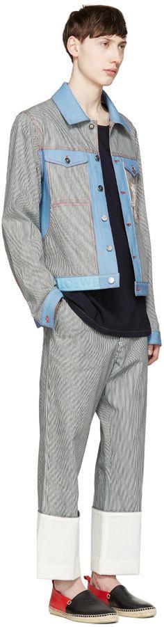 Loewe - Blue Denim Striped Patch Jacket