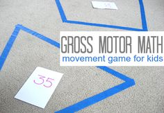 Great gross motor game for shapes and numbers. Easy to adapt to most anything. Play music, when the music stops, the teacher calls out which shape/number to stand on.