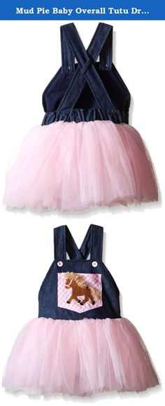Mud Pie Baby Overall Tutu Dress, Multi, 9-12 Months. Denim overall style bodice has gingham printed center pocket with crochet horse applique and attached full mesh layered skirt.