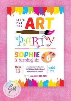 Art Birthday Party, Art Party, Paint Birthday Party, Paint Party, Paint Party Ideas, Art Party Invitation, Art Party Invite, Rainbow Art Party, Paint Party, Paint Party Invitation, Paint Party invite, Rainbow Art Party invite, Invitation, Invite, Birthday Party, Birthday Invitation, Invitations www.gardellalglobal.etsy.com