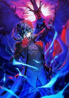 Persona 5 Joker and Arsène Persona 5 Anime, Persona 5 Joker, Persona 4, Fantasy Character Design, Character Art, Fantasy Characters, Anime Characters, Tamako Love Story, Super Anime