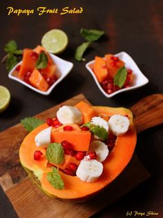 I'm in love with papaya! Papaya is a tropical fruit which gives you loads of health benefits and luscious taste. Add them in any salad and it will light up. So, sharing an easy Papaya fruit s… World's Best Food, Good Food, Yummy Food, Delicious Recipes, Orange Dressing Recipes, Fancy Dishes, Baby Fruit, Light Recipes, Breakfast Recipes