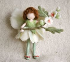 Flower Fairy Waldorf inspired needle felted doll May by MagicWool, $54.00