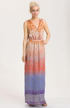 Presley Skye Print Silk Crêpe de Chine Maxi Dress - ORANGE/ PEPPER
