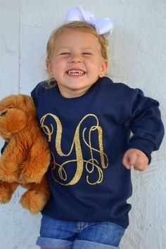 Toddler Glitter Monogrammed Sweatshirt | Jane