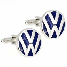 Blue and Silver Volkswagen Logo Automotive Car Cufflinks