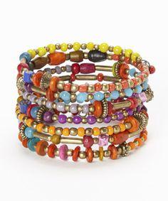Loving this Red & Orange Bead Coil Bracelet on #zulily! #zulilyfinds