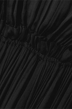 Schwarz Kleid aus Crêpe mit Rüschen und Cape-Effekt zum Binden   Lanvin   NET-A-PORTER Lanvin, Black Cape, Crepe Dress, Plunging Neckline, Bottega Veneta, Pumps, Colours, Detail, Dresses