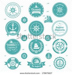 A vector illustration of nautical icons