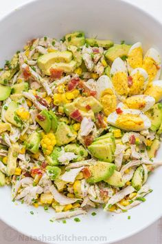 This Avocado Chicken Salad recipe is a keeper! Easy, excellent chicken salad with lemon dressing, plenty of avocado, irresistible bites of bacon and corn. No cooking required for this healthy Chicken Cucumber Avocado Salad. Chicken Salad Ingredients, Chicken Salad Recipes, Healthy Chicken, Chicken Avocado Salad, Avocado Egg Salad, Chicken Stuffed Avocado, Avocado Salad Recipes, Recipe Chicken, Fruit Salad
