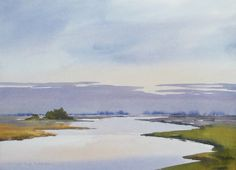 Edo Hannema Watercolorart If you are awake early, lets say 05:30 am, and you look over the marshes, you see the night-clouds going away. That's always a tranquil scene. On Schut Noblesse stretched 28x38 cm 300 gr/m2