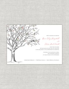 Love Birds Wedding Invitations Cherry Blossom by paperimpressions