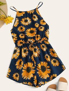 Shop Floral Print Tie Back Drawstring Waist Romper at ROMWE, discover more fashion styles online. Cute Teen Outfits, Teenage Girl Outfits, Cute Comfy Outfits, Summer Fashion Outfits, Teenager Outfits, Cute Fashion, Pretty Outfits, Stylish Outfits, Kids Outfits