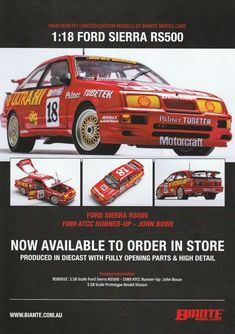 John Bowe Shell Ford Sierra 1989 Australian Touring Car Championship Runner Up. This model features opening doors, hatch and bonnet to reveal detailed engine. Comes with certificate of authenticity. This model is due quarter of Ford Sierra, Authenticity, Certificate, Touring, Diecast, Engineering, Shell, Doors, Car