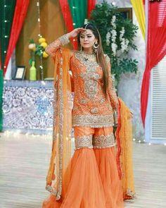 { ♡ } maybe not orange tho Stylish Dresses For Girls, Wedding Dresses For Girls, Party Wear Dresses, Lovely Dresses, Simple Pakistani Dresses, Pakistani Wedding Outfits, Pakistani Dress Design, Saree Wedding, Wedding Wear