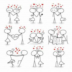 Stick Figure Clipart Clip Art Love Stick People Couple Clipart Clip Instant Down… – Valentine's Day Couple Drawings, Easy Drawings, Couple Clipart, Family Clipart, Art Amour, Love Stick, Stick Figure Drawing, Couple Illustration, Clip Art