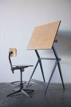 "Willem Rietveld + Friso Kramer ""Reply"" Drafting Table via Amsterdam Modern"