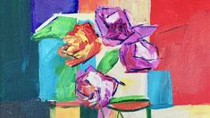 How to Paint Abstract Roses in Acrylic Paints by Ginger Cook Beginning A...