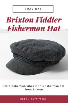 Brixton Fiddler Fisherman Hat. gray hat and black and white top.   fishermanhat   043b7f190c30