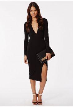 Chelsi Jersey Side Split Midi Black - Dresses - Midi Dresses - Missguided