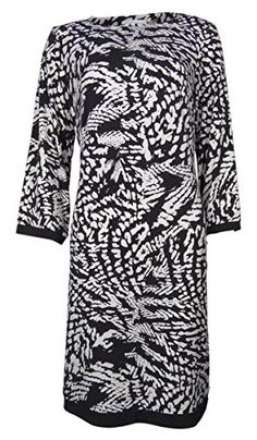Calvin Klein Women's Printed Shift Jersey Dress (8, Black/Eggshell) * Want additional info? Click on the image.
