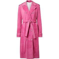 CALVIN KLEIN 205W39NYC Suede trench coat (96,410 EGP) ❤ liked on Polyvore featuring outerwear, coats, fuchsia, suede leather coat, pink double breasted coat, double breasted coat, pink coats and trench coats