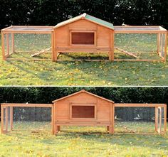 Unique, double chicken run, hen house. Plenty of outdoor space! Priced at just $189.99 which includes shipping! Check this one out! #CheapChickenCoop http://www.efowl.com/Deluxe_Double_Run_A_Frame_Coop_p/305-1007.htm&Click=32918