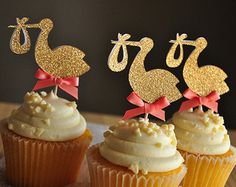 Quality glitter storks cupcake Toppers baby shower birthday party cake decorations food picks with free worldwide shipping on AliExpress Mobile Coral Baby Showers, Stork Baby Showers, Baby Shower Niño, Elegant Baby Shower, Gender Neutral Baby Shower, Girl Shower, Baby Shower Parties, Princess Cupcake Toppers, Baby Shower Cupcake Toppers