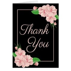 #wedding #thankyoucards - #Floral Thank You Pink Flowers Black Wedding Party Card