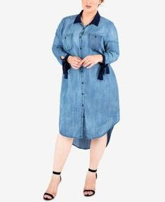af2cdf8c78348 Standards and Practices Trendy Plus Size Tie-Sleeve Chambray Shirtdress -  Blue 2X  vintageplussizeclothing