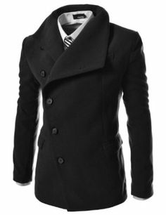 Amazon.com: TheLees Mens Unbalance High Neck Slim PEA Coat Jacket: Clothing