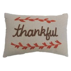 Celebrate+Fall+Together+''Thankful''+Oblong+Throw+Pillow