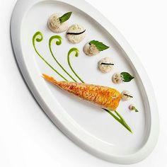 "By @restaurantdaniel ""Red Mullet Confit with Saffron, Eggplant Beignet, Eucalyptus, Tahini emulsion & Thai Basil."" /signebirck/"