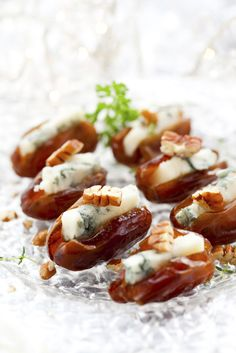 Stuffed Dates with Blue Cheese Recipe by Plavaneeta Borah Finger Food Appetizers, Finger Foods, Appetizer Recipes, Blue Cheese Recipes, Arabian Food, Catering Menu, Tasty Bites, Christmas Appetizers, Food Goals