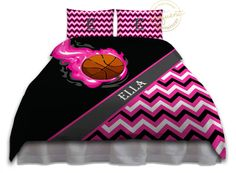 Girls Basketball Bedding - Comforter Pink & Black - Basketball Bedding - Kids Personalized, King, Queen/Full, Twin #275 by EloquentInnovations on Etsy