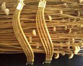 Wave Earrings - gold grass