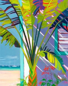 Colorful And Cheerful Caribbean Art To Cheer You Up - Bored Art Scrapbooking Image, Plant Painting, Gouache Painting, Caribbean Art, Beach Art, Painting Inspiration, Flower Art, Watercolor Art, Art Projects