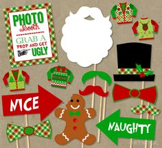 Ugly Sweater Party Photo Booth Props Package DIY by thatpartygirl, $7.00