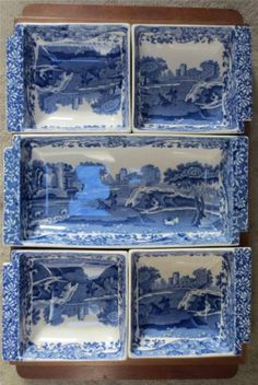 Vintage Copeland Spode |Italian Pattern Blue and White Hors d' Oeuvres Set