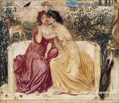 Sappho and Erinna in a Garden at Mytilene * Simeon Solomon 1864. Lesbianism, and Sappho in particular, was a subject of interest to many of the Cannibals such as Algernon Swinburne who wrote many poems about Sappho and her lovers including Anactoria.