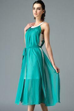 Bohemian Cutaway Shoulder Chiffon Halter Dress - OASAP.com