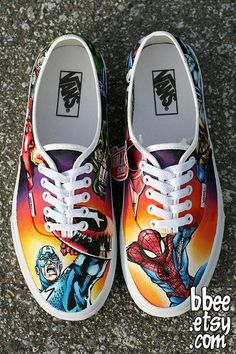 Hand-painted Marvel comics shoes.