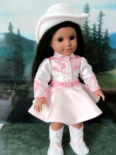 Historical Cowgirl  Costume, Dale Evans, Halloween Costume, 18 inch Doll Clothes