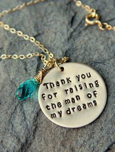 Thank you For Raising The Man Of My Dreams Necklace, Gold Necklace, Valentines Day Gift Mother of the Groom, MIL Gift