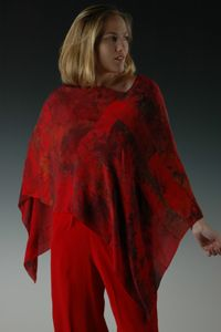 Chiffon Poncho by SoLace Marbled Artwear. This contemporary styled poncho is styled from dozens of pieces of marbled silk chiffon and can be worn with the point on the front or side. American Made. See the designer's work at the 2015 American Made Show, Washington DC. January 16-19, 2015. americanmadeshow.com #poncho, #red, #americanmade