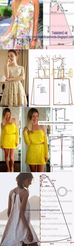 Los vestidos veraniegos y los sarafanes con los patrones simples