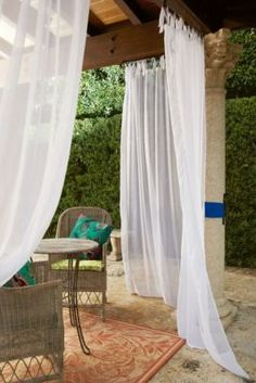Summer Porch Sheer - Indoor Outdoor Sheer Curtain Panels, Window Coverings   Soft Surroundings